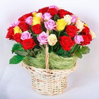 51 разноцветная роза в корзине