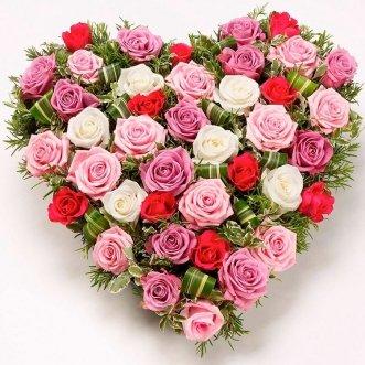 Сердце из 41 розы