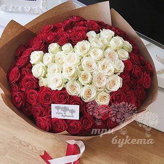 101 роза сердце 70 см.