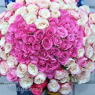 101 роза сердце (Premium) 80 см.