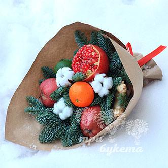 Новогодний букет из граната и яблок