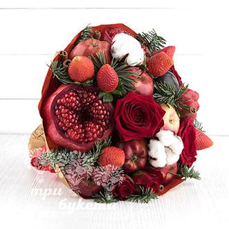 Новогодний букет из гранатов и роз